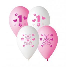 Latexové balonky 1 rok holka, 5ks