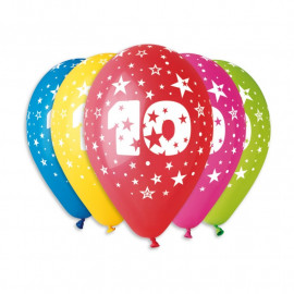 Silné Balónky 30cm metalické mix - Birthday No.10