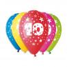 Silné Balónky 30cm metalické mix - Birthday No.10,1ks