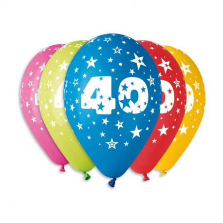 Silné Balónky 30cm metalické mix -  Birthday No.40
