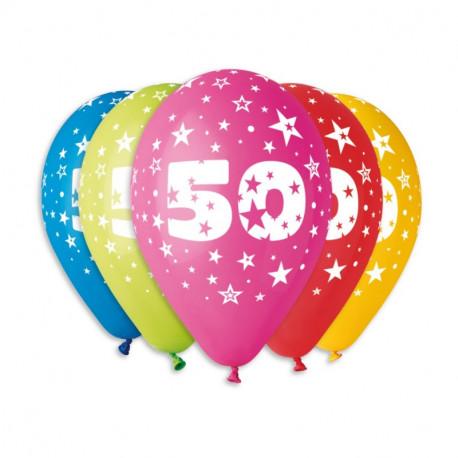 Silné Balónky 30cm metalické mix -  Birthday No.50