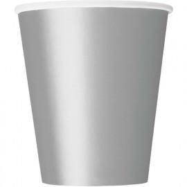 Kelímky papírové - stříbrné, 8ks