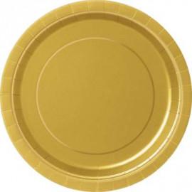 Talířky papírové - zlaté 23cm, 8ks