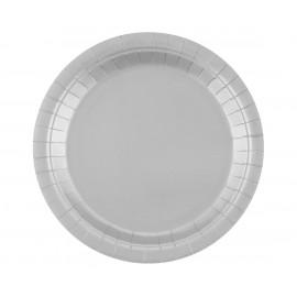 Papírový talíř Stříbrný,23cm,14ks