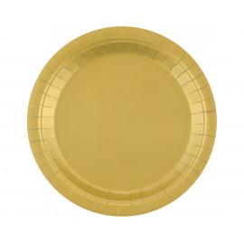 Papírový talíř Zlatý,23cm,14ks