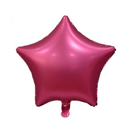 Balon foliový Hvězda Temně růžová matná,45cm