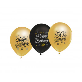Latexové balonky 50cm, zlaté a černé, 5ks