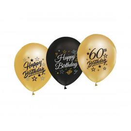 Latexové balonky 60cm, zlaté a černé, 5ks
